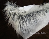 Frosted 2 Tone Gray White Faux Fur Fabric Prop, Newborn Photo Prop, Backdrop, Faux Fur Prop, Basket Filler, Minin Blanket, Craft Fur, RTS