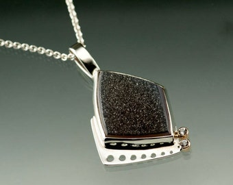 Black Gray Drusy and White Sapphire Sterling Silver and Yellow Gold Pendant, OOAK Sterling Silver Necklace, Ready to Ship