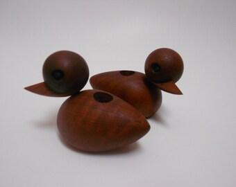 Teak Ducks Bolling Style Danish Modern Candle Holders Chic Eames Era- Mid Century Wood MCM Candle Holders