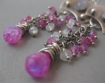 Small Shower of Gemstones Earrings with rainbow and Pink Moonstone