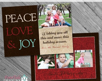 ON SALE Rustic Christmas Card No. 5 - custom Christmas card template for photographers on whcc specs