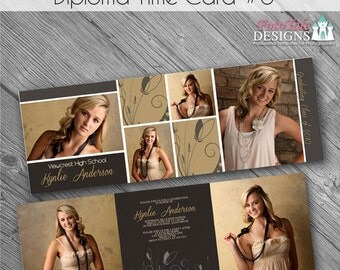 INSTANT DOWNLOAD - Diploma Time Card No 6 - 5x5 Trifold Graduation Announcement- custom photo templates on WHCC Specs