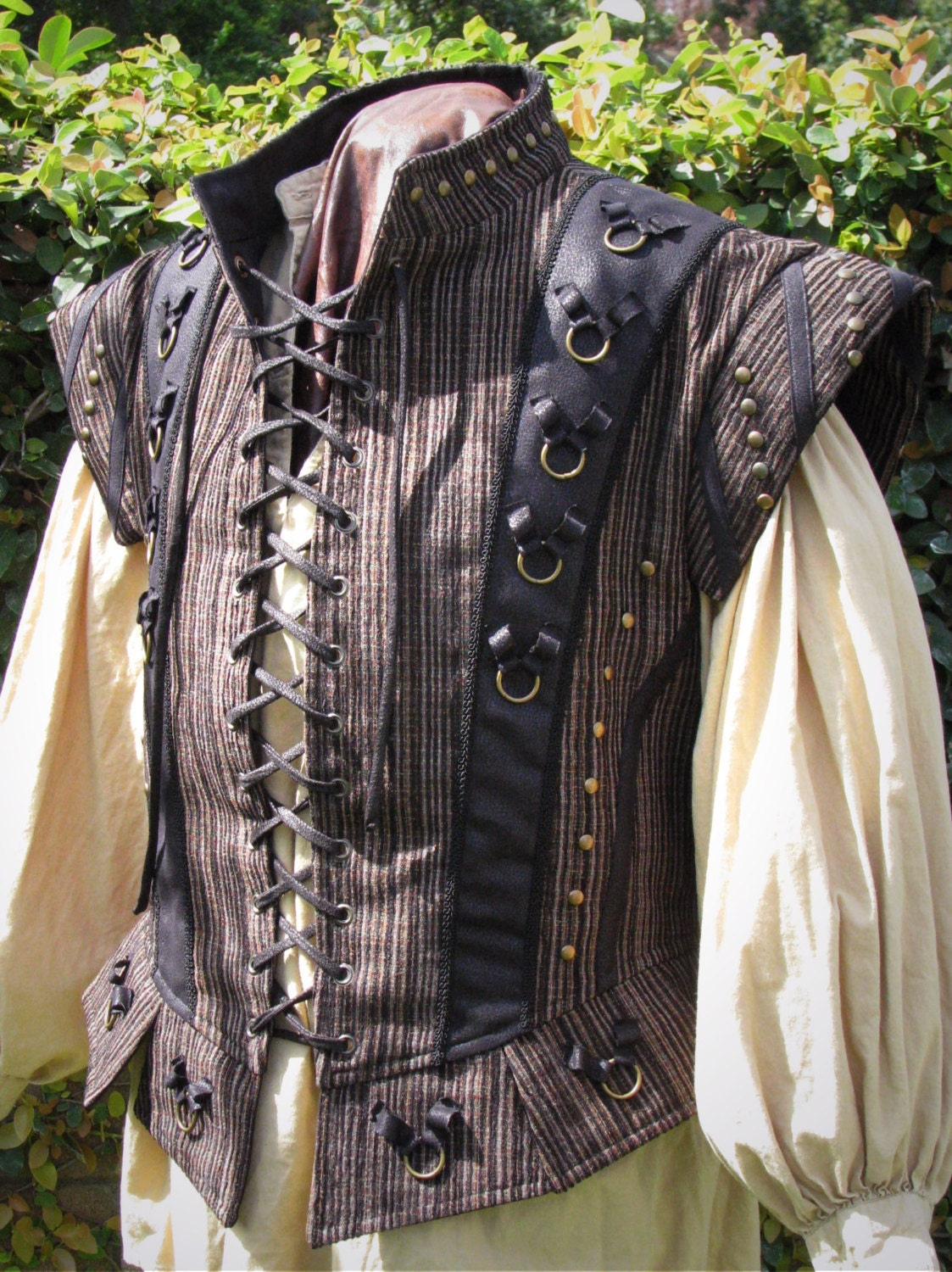 Medieval Dude S Black And Textured Stripe Doublet Ready To