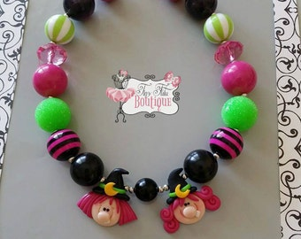 WITCH SISTERS Chunky Necklace- Chunky bubblegum necklace, Girls chunky necklace, Gumball necklace, Bottle Cap necklace