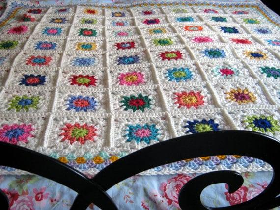 Crochet Pattern Petite Peony Crochet Blanket Granny Squares Instant Download
