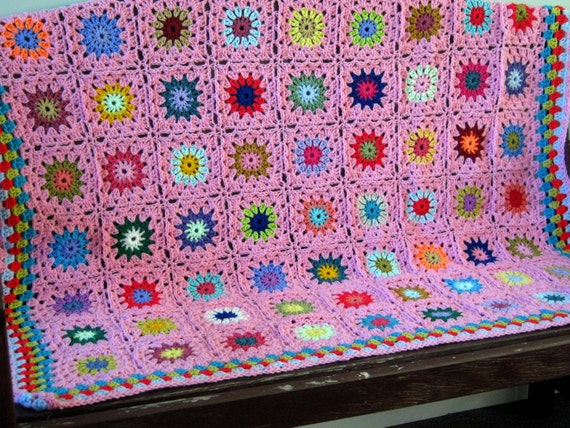 Exquisite PINK Flowers Granny Squares Crochet Blanket Afghan
