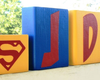 PERSONALIZED LETTER BLOCKS - Superman Custom Name Sign - Marvel Comic Baby Nursey - Superhero Birthday Party Centerpiece