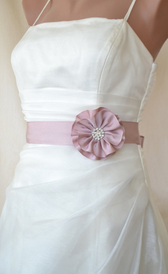 EXPRESS SHİPPİNG! Handcraft Blush Pink Satin Flower Wedding Dress Bridal Sash Belt Wedding Accessories