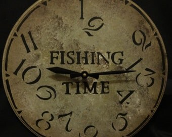 12 Inch FISHING TIME CLOCK in Warm Earthy Shades with Jumbled Numbers