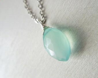 Aqua Chalcedony Briolette Necklace - Aqua Green Chalcedony Marquise Pendant Necklace Silver Chain stone no.1