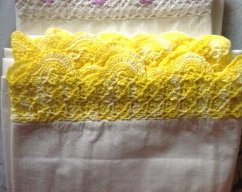 Two pair standard pillow cases hand crocheted edges yellow purple
