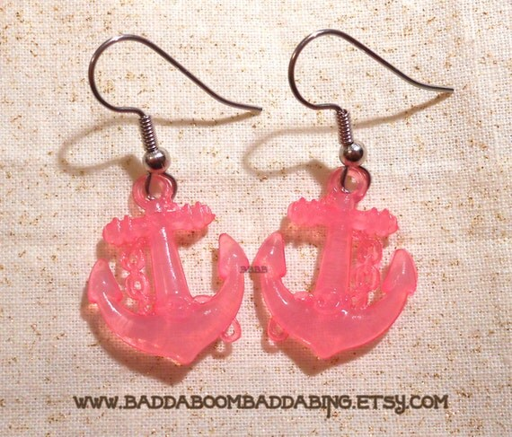 Pretty in Pink Anchor Plastic Charm Dangle Earrings Created with  Surgical Steel French Hooks
