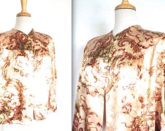 Vintage 1940s Blouse // 40s Satin Baroque Print Bed Jacket // 40s Lingerie Top // DIVINE