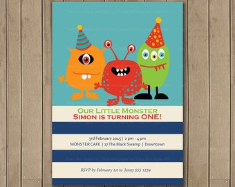 Little Monsters First Birthday Invitation, Printable, DIY, Monster party, 1st Birthday, 2nd Birthday 1084
