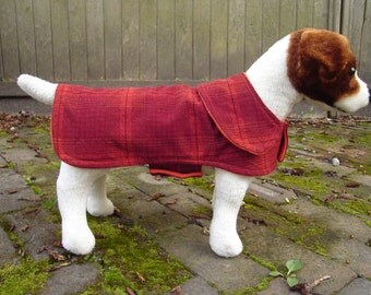 Orange and Maroon Corduroy Plaid Dog Coat- Size Small- 12-14 Inch Back Length