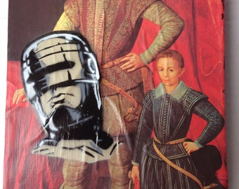 "ROBOCOP -- collage, stencil, spray paint (Original Painting #6) -- 8"" x 10"""