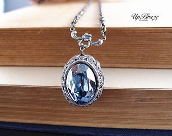 Iris No.2--Swarovski oval ice blue crystal antique silver brass German filigree well Victorian necklace
