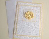 Yellow and White Floral Embossed Birithday All Occasion Card With Paper Flower Blank Inside