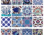 ANTIQUE IZNIK TILES - Instant Download Paper Crafts collage sheet - blue and white Antique Turkish tiles -decoupage,craft squares