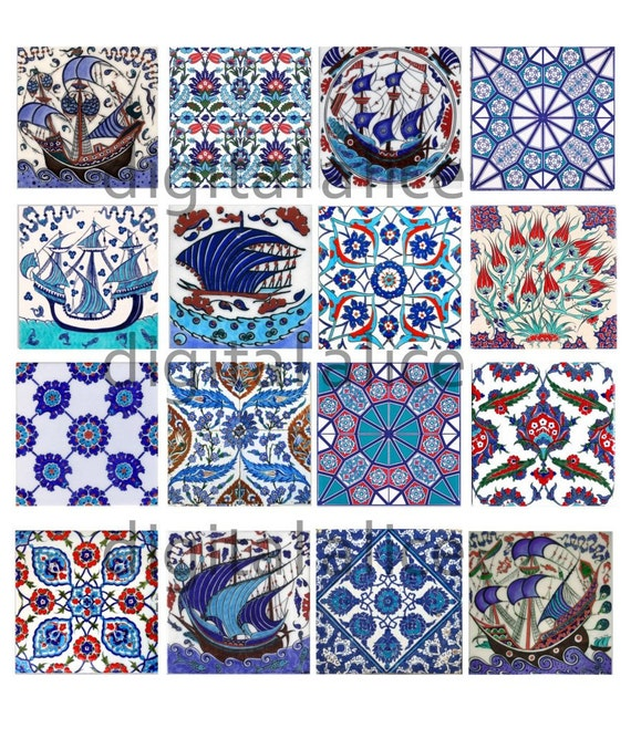 Antique iznik tiles instant download paper crafts collage for Azulejos de iznik