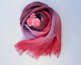 Oversized Pink Tones Scarf - Marsala Linen Shawl - Long Linen Scarf - Fashion Scarf - Infinity Scarf - Marsala Womens Scarf