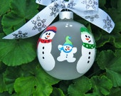 Snowman Family Ornament - Personalized Christmas Ornament - Snowmen - Hand Painted Bauble, Family of Three, Family of Four, Grandparent Gift
