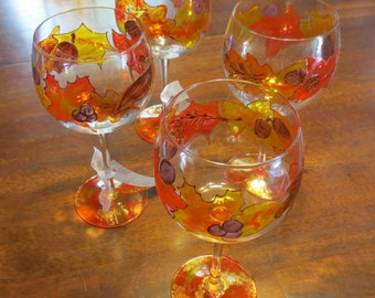 Autumn Leaves Wine Glass Hand Painted