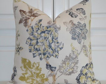 KRAVET Kyrie - Floral Decorative Pillow Cover - Linen Accent Pillow - Jacobean Print - Indigo/Navy Blue and Chartreuse