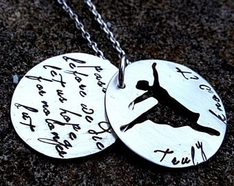 Truly know it - An inspired sterling silver phrase necklace - double disc, custom cut out shape