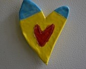 Yellow, Red and Blue Heart Magnet