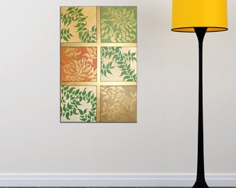 Large Acrylic Painting, GOLD LEAVES, 24x36 abstract leaves with gold metallic accents