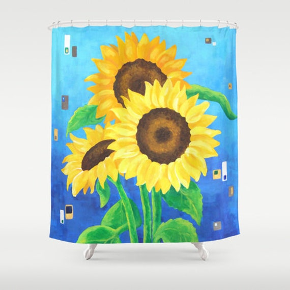 Blue And Yellow Bathroom Decor: Items Similar To Shower Curtain