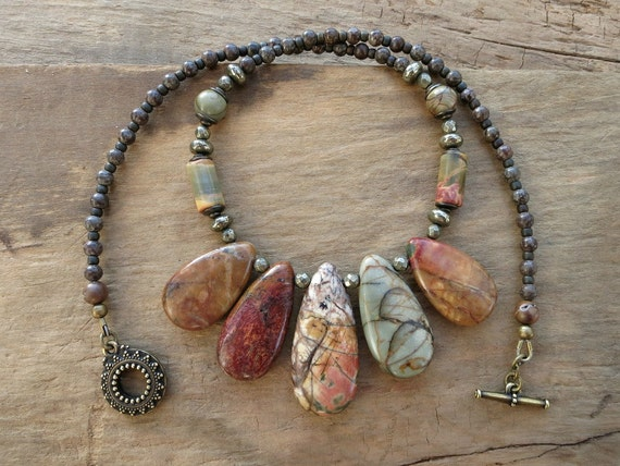 Jasper Statement Necklace, Boho Bohemian tribal bib necklace, earthy colorful Picasso jasper and pyrite jewelry
