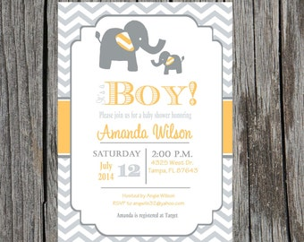 Printed elephant baby shower invitation, boy baby shower, elephants, boy, custom