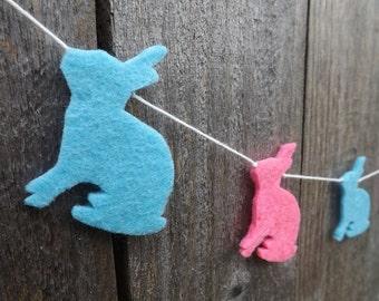 Mini Rabbit Garland, Rabbit Bunting, Felt Garland, Garland, Nursery Decor, Baby Shower, Easter Garland, Spring Garland, Pastel decor, Rabbit