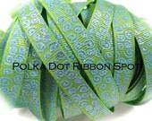 New Wonkie Swirls Glitter Grograin ribbon 5 yards- 3/8 inch Lime/Carolina Blue Sparkle Swirls hair bow craft trim ribbon