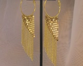 Gold Mesh Drop Dangle Hoop Earrings with Chain
