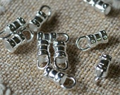 100pcs Crimp 5.5x3.5mm Tube With Loop Cord Ends Tip Silver-Plated Brass For 2mm Cord