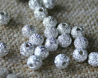 24pcs Metal Bead 4mm Silver Plated Stardust Brass Round