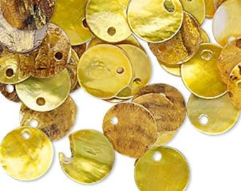 100pcs Mussel Shell Pendant Natural Drop 10mm Round Yellow
