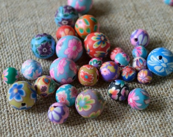 30pcs Polymer Clay Polyclay Bead Round 6-10mm Multicolored