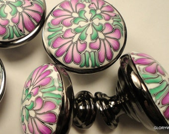 4 Cabinet Knobs Pulls Last 4    Unique Black Nickel Gun Metal and Polymer Clay...Pink Green on White