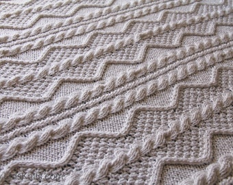 "Large White Cable Cotton Hand Knit Blanket (50"" x 70"")"