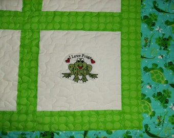 Embroidered Baby Crib Quilt, I love FROGS