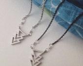 Silver Necklace-Chevron-Arrow-Geometric Necklace