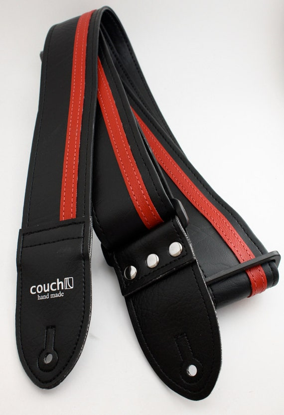 Black With Red Racer X Guitar Strap  - Vegan - Plenty of other colors to choose from