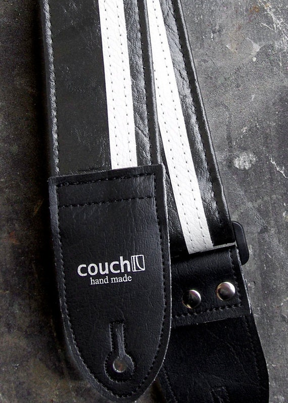 Black & White Racing Stripe Guitar Strap Made of Vintage Cadillac Vinyl, Vegan, Upcycled, Built to Rock