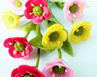 Miniature Polymer Clay Flowers Supplies Blossom Poppy for Dollhouse, 12 stems