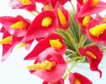 Red Anthurium Miniature Polymer Clay Flowers Supplies for Dollhouse set of 12 stems