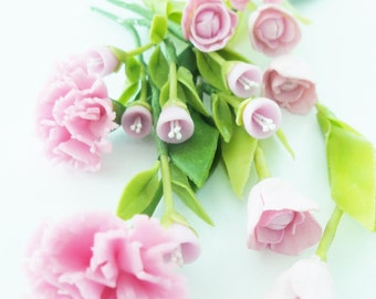 Miniature Polymer Clay Flowers Supplies Carnation Tulip and Morning Glory with Leaves, 18 stems